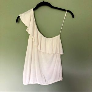 American Eagle One Shoulder Ruffle Tank Girly